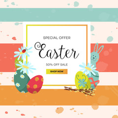 vector easter holiday special offer sale poster, banner background template with spring element rabbit decorated eggs, daisy flowers willow twigs ladybug. Grunge striped background illustration