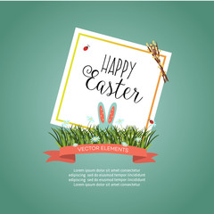 vector easter holiday sale poster, banner background template with spring element rabbit ears green grass, daisy flowers willow twigs ladybug white frame. blue background illustration