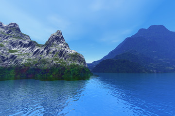River, a tropical landscape, mountains with rocks and grass, reflection on the blue waters and a cloudy sky