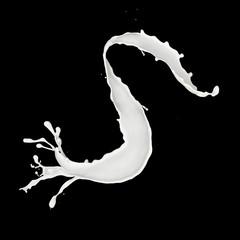 Abstract splash of milk isolated on black background