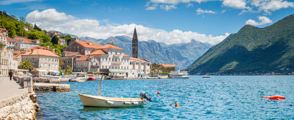 Poster Blauw Historic town of Perast at Bay of Kotor in summer, Montenegro