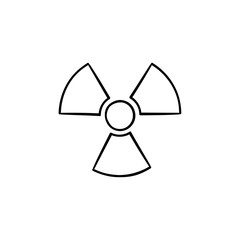 Radioactive sign hand drawn outline doodle icon. Propeller sign symbolizing radioactive pollution vector sketch illustration for print, web, mobile and infographics isolated on white background.