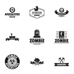 Zombie apocalypse logo set. Simple set of 9 zombie apocalypse vector logo for web isolated on white background