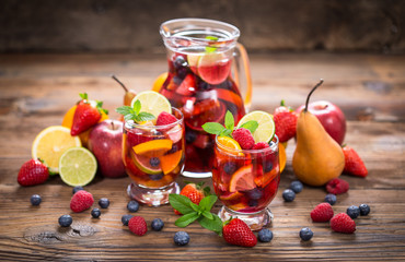 Summer cold cocktail, Sangria drink with fruit