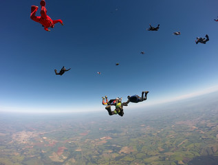 Foto op Aluminium Luchtsport Skydiving team formation