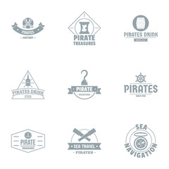 Pirate logo set. Simple set of 9 pirate vector logo for web isolated on white background