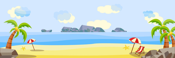 Vector flat seaside coastline natural landscape. Tropical beach party poster, banner background template. Illustration with sea, ocean cloud sky sand lounger sun umbrella palm vacation travel holiday