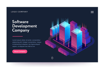 Software development company illustration. Web banner with neon light and modern buildings. Isometric gradient style. Home page concept. UI design mockup.