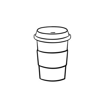 Plastic cup of chocolate coffee hand drawn outline doodle icon. Takeaway coffee vector sketch illustration for print, web, mobile and infographics isolated on white background.