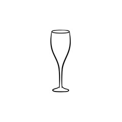 Champagne glass hand drawn outline doodle icon. Vector sketch illustration of champagne with bubbles for print, web, mobile and infographics isolated on white background.