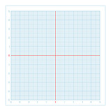 Vector blue metric graph paper with coordinate axis, grid accented