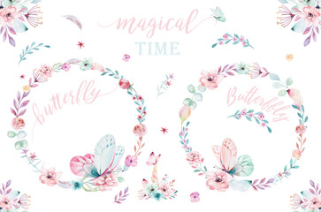 Watercolor boho floral wreath. Bohemian natural frame: leaves, feathers, flowers, Isolated on white background. Artistic decoration illustration. Save the date, weddign design, valentine's day