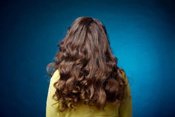 Hairstyle long curls on the head of a brown-haired woman looking from behind on a blue background. Professional female hairdress.