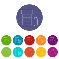 Pills in jar icons color set vector for any web design on white background