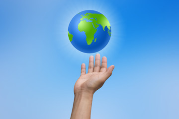 man hand reaching world for save concept.