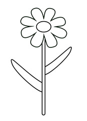Vector illustration, isolated asymmetric cartoon flower in black and white colors