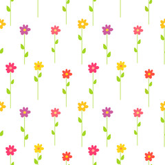 Colorful spring flowers pattern.
