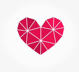 Pink geometric heart shape icon
