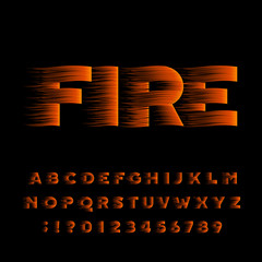 Fire alphabet font. Flame effect bold type letters and numbers. Stock vector typeset.
