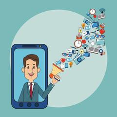 Businessman using smartphone for digital marketing vector illustration graphic design