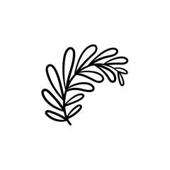 Leaves on branch hand drawn vector outline doodle icon. Branch with leaves vector sketch illustration for print, web, mobile and infographics isolated on white background.