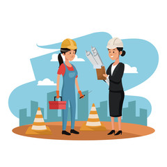 Female worker and architect on construction zone cartoons vector illustration graphic design