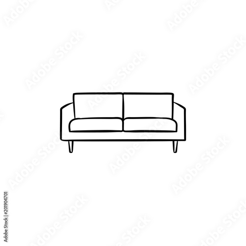 Sofa Hand Drawn Outline Doodle Icon Modern Furniture Sofa Vector