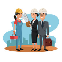 Worker with architect and businessman at construction zone cartoons vector illustration graphic design