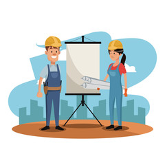 Workers at construction zone with white board vector illustration graphic design