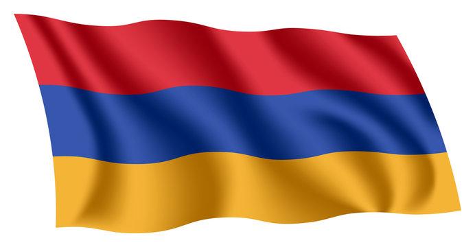 Armenia flag. Isolated national flag of Armenia. Waving flag of the Republic of Armenia. Fluttering textile armenian flag.