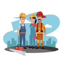 Construction worker and firefighter at construction zone vector illustration graphic design