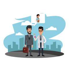 Businessman selling medicine to doctor at city vector illustration graphic design