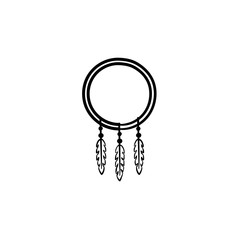 Dreamcatcher hand drawn outline doodle icon. Vector sketch illustration of dreamcatcher for print, web, mobile and infographics isolated on white background.