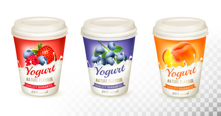 Set of yogurt with fruit and berries. Design template. Vector