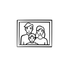 Family photo frame hand drawn outline doodle icon. Kid and parents on family photo vector sketch illustration for print, web, mobile and infographics isolated on white background.