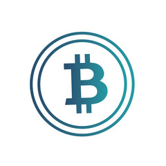 Gradient blue bitcoin icon isolated on white background. Crypto-currency market. Vector illustration.