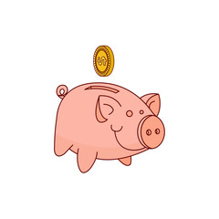 hand drawn piggy band money box, pig earnings save object, home investment bank tool with golden coin icon. Isolated illustration on a white background.