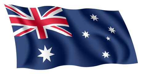 Australia flag. Isolated national flag of Australia. Waving flag of the Commonwealth of Australia. Fluttering textile australian flag.