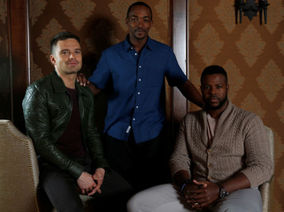 "Cast members Stan, Duke and Mackie pose for a portrait while promoting the ""Avengers: Infinity War"" in Beverly Hills"