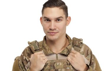 Soldier in safety wear