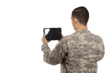 Soldier with digital tablet