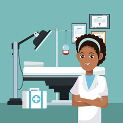 Nurse at doctor office vector illustration graphic design