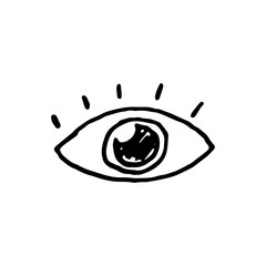 Handdrawn doodle eye icon. Hand drawn black sketch. Sign symbol. Decoration element. White background. Isolated. Flat design. Vector illustration.
