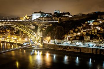 View of night Porto. Blurry river. Long exposure.