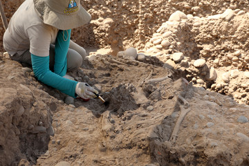 Archaeologist works at the Maranga Archaeological Complex in Lima