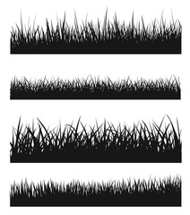 Vector set of black grass silhouettes - stock vector.