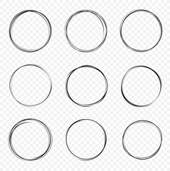 Set of vector hand drawn circles. Circular scribble doodle round circles for message - stock vector.