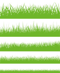 Vector set of green grass silhouettes - stock vector.