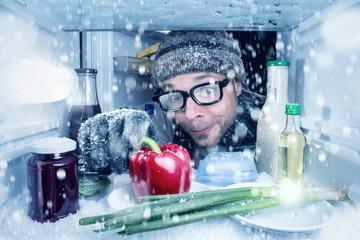 Es schneit im Kühlschrank