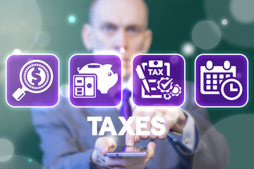 Taxes. Tax Declaration Business Finance concept. Mobile Application Debt Repayment.
